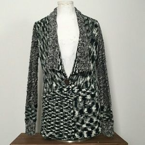 ELEMENT Shawl Collared Black & White Cardigan Sz M